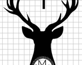 Deer Monogram Vinyl Decal