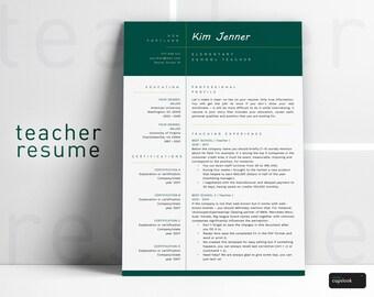 Teacher Resume Template for Word (1, 2 Page Resume for Teachers) Resume Teacher, CV Teacher, Elementary Resume, Teaching Resume, Educator CV