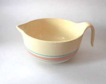 Vintage McCoy mixing bowl with handle and pour spout,  blue and pink stripe, oven proof, yellow ware, pottery, farm, rustic, USA, RARE