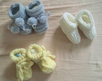 Wool baby booties