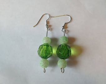 Handmade green dangle earrings
