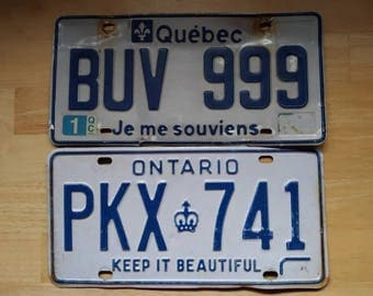 Vintage Expired Licence Plate Lot---Ontario and Quebec!