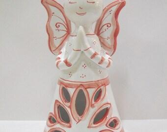 Ceramic of Vietri, ceramic angel, perforated and hand-decorated cm 19 X 11 Ø