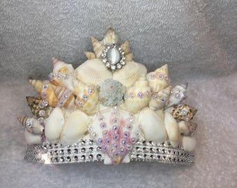 Bridal tiara prom crown made with real shea shells