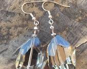 Platinum Silver Bridal Earrings, Statement Earrings, Gray Crystal Earring, Mother of the bride, Wedding Jewelry, Quartz Crystal Earrings