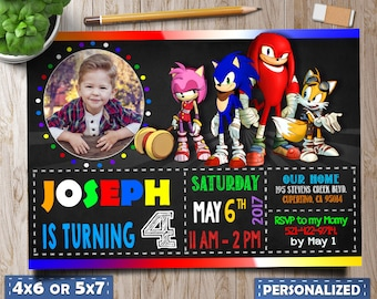 Sonic Invitation, Sonic Invite, Sonic Birthday, Sonic Birthday Invitations, Sonic Birthday Party, Sonic Photo Invitation, Boy invitation