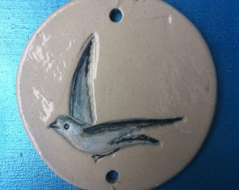 Disc hanging in white stoneware decorative Seagull