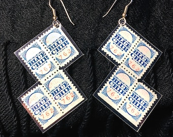 Vintage Blue Chip Stamps earrings