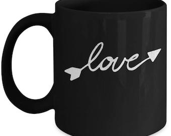 Love Arrow - High Quality Cute Black & White Ceramic 11 oz or 15 oz Mug -Love Valentine's Day Mother's Day Birthday Mom Wife Girlfriend Gift