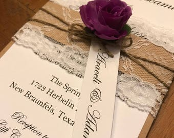 Rustic Chic Wedding Invitations with lace