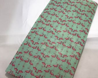 Reusable Cotton Beeswax Food Wrap Turquoise Mint Green Flamingo Pink Bird Small 20cm x 20cm Eco Friendly Natural Living