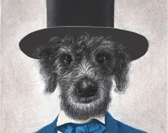 Custom Portrait of Your Pet as Abraham Lincoln, 11 x 14""