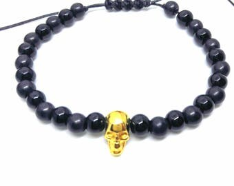 Men Minimalist Bracelet with Headcap and Semi-Precious Stones by Chrysa's hands