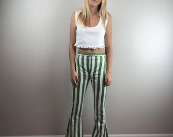 Green and White Striped High Waist Front Zipper Flared Pants Trousers