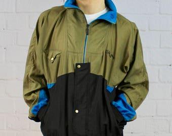 Mens Vintage 90s Puma Olive Green Black Colorblock Track Jacket Windbreaker