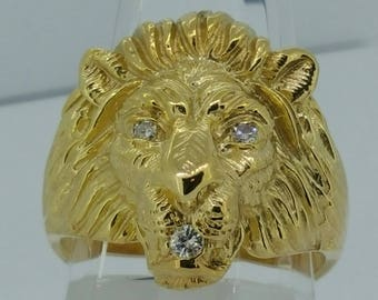 14K Y/G  and Diamond Lion Head Ring