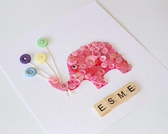 Elephant button art with scrabble tiles to complete a name