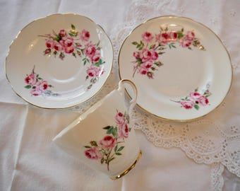Pink Roses teacup, saucer and plate trio, Vintage teacup trio, Argyle bone china teacup trio