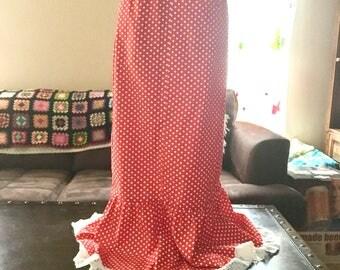 Bobbie brooks red polka dot maxi skirt