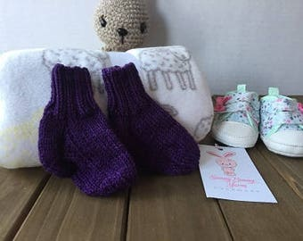 Hand Knit Baby Socks, 0-3 Months, Ready to Ship