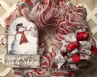 Christmas Holiday Snowman Wreath