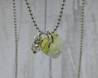 Swarovski crystal heart. Swarovski heart pendant necklace. Yellow heart. Bead charm necklace
