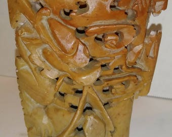 Chinese Soapstone figuring Dragon eating. Fish (220)