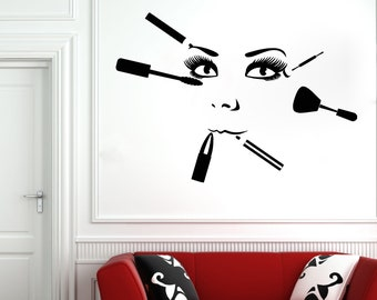 Wall Decal Window Sticker Beauty Salon Woman Face Eyelashes Lashes Eyebrows Brows t26