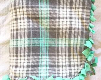 Plaid Fleece Tie Blanket | Striped Fleece Tie Blanket | Double Sided Fleece Blanket | Turquoise Blanket | Gray Blanket | Fleece Throw