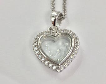 Rhodium-Plated 925 Sterling Silver Heart Pendant with Floating Cubic Zirconia