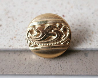 Vintage Button Ring, Handmade Ring, Round Ring, Gold Ring, Statement Ring, Adjustable Ring, Mother Gift, Gifts for Her