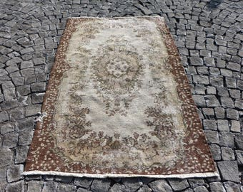 Small Area Vintage Rug Free Shipping Oushak Rug 3.7 x 6.6 ft. Home Decor Floor Rug Tribal Rug Turkish Rug Bohemian Rug Rustic Rug MB104