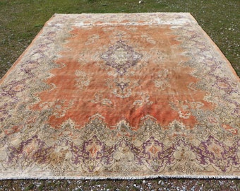 Very unique orange color turkish rug, 9.5 x 13.3 ft. Free Shipping frequent knot special oushak rug, oversize hall rug, floor rug, MB542