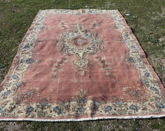 Oversize pink area rug 6.4 x 9.7 ft. Free Shipping large size turkish rug, oushak rug, handknotted turkish rug, flowered unique rug, MB557