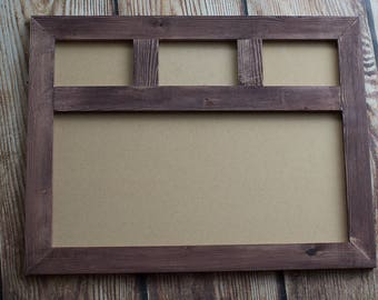 Multi Photo Frame three 6x4 & one 20x10 landscape wooden frame. Stained in Walnut (other colours / stains available)