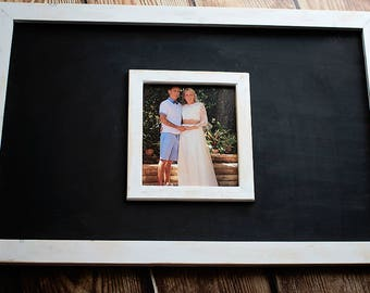 Wedding guest chalkboard with internal 10x8 inch picture for Bride & Groom, large 30x20 inch wooden distressed paint