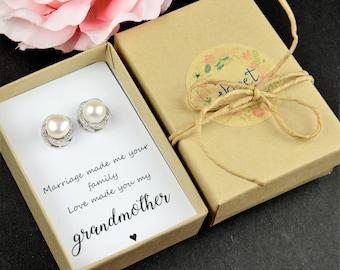 Grandmother gift, grandmother wedding gift, grandmother of the groom gift ,fresh water pearl earrings,fresh water pearl jewelry, grandmother