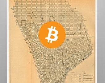 Bitcoin Crypto New York Vintage Poster