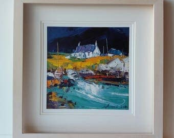 Jolomo framed art print-Scottish landscape paint-Boats Portuairk Ardnamaurchan