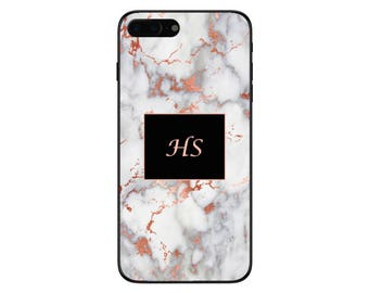 Personalised Rose Gold Marble Box Initials Phone Case for Apple iPhone and Samsung Galaxy 5 6 6s 7 8 10