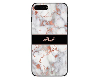 Personalised Rose Gold Marble Banner Initials Phone Case for Apple iPhone and Samsung Galaxy 5 6 6s 7 8 10