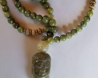 Green serpentine 8mm bead Mala