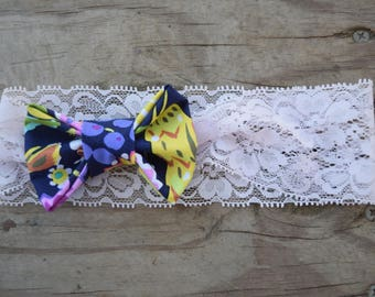 Bright Colors Bow on Lace Headband