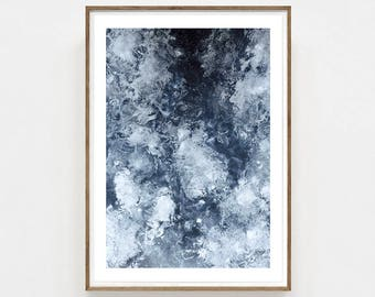 Glaze - Crystal Print, Blue Poster, Abstract painting, Home decor, Nature artwork, interior photograph, Wall Art.