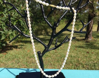 White/Pink/Silver Pearl Necklace - Freshwater Uncultivated