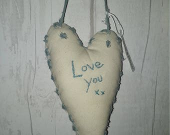 Calico Duck Egg Primitive Style Hanging Heart Gift Valentine Token Textile Vintage Art Decor Shabby Chic Mum Sister Grandma Auntie Daughter