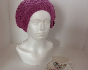 Irish hand knit pink mohair and wool ladies hat