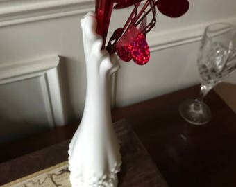 VIntage Milk Glass Thin Vase
