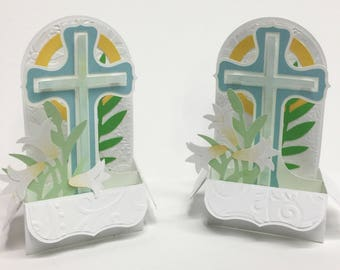 3D pop up easter religious passover card cross lilly