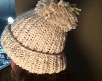 Hand knitted bulky hat